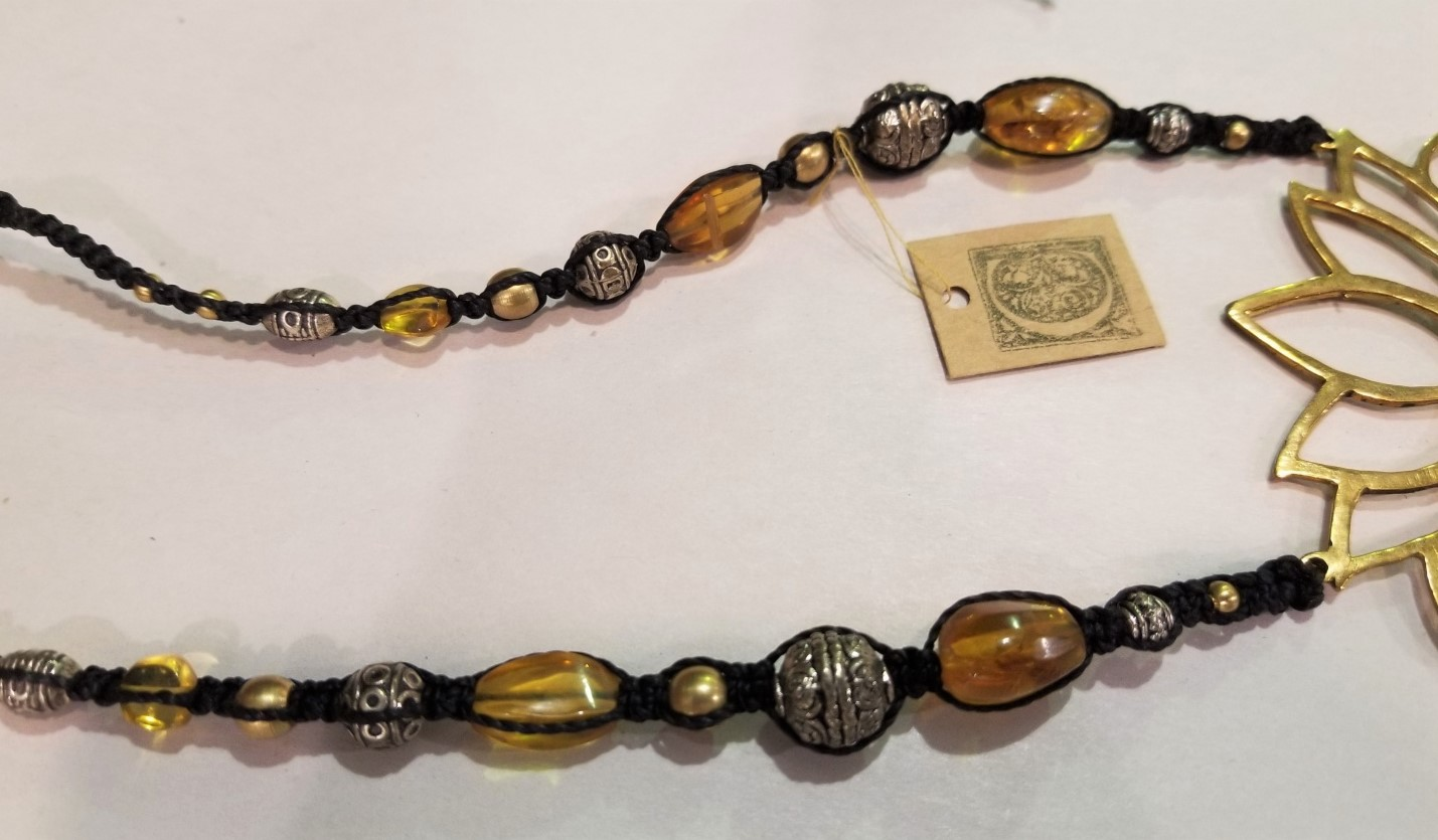Macrame and Amber Necklace, from Celeste Kilmartin