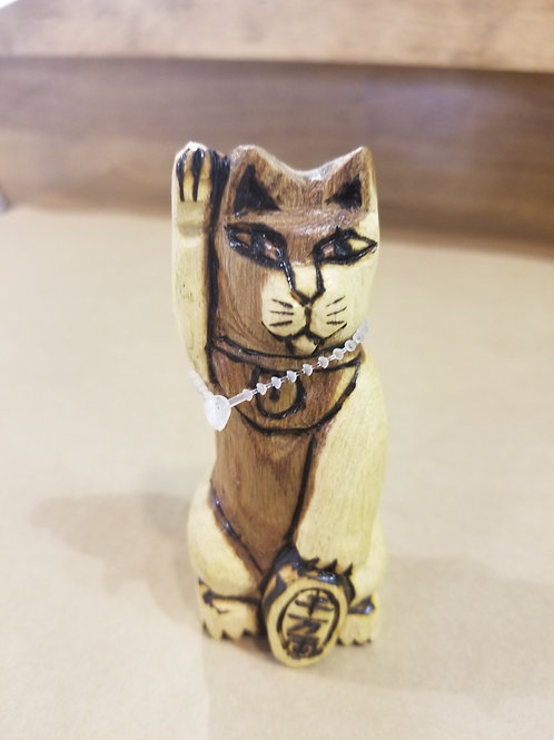 Hand-Carved Wood Lucky Cat