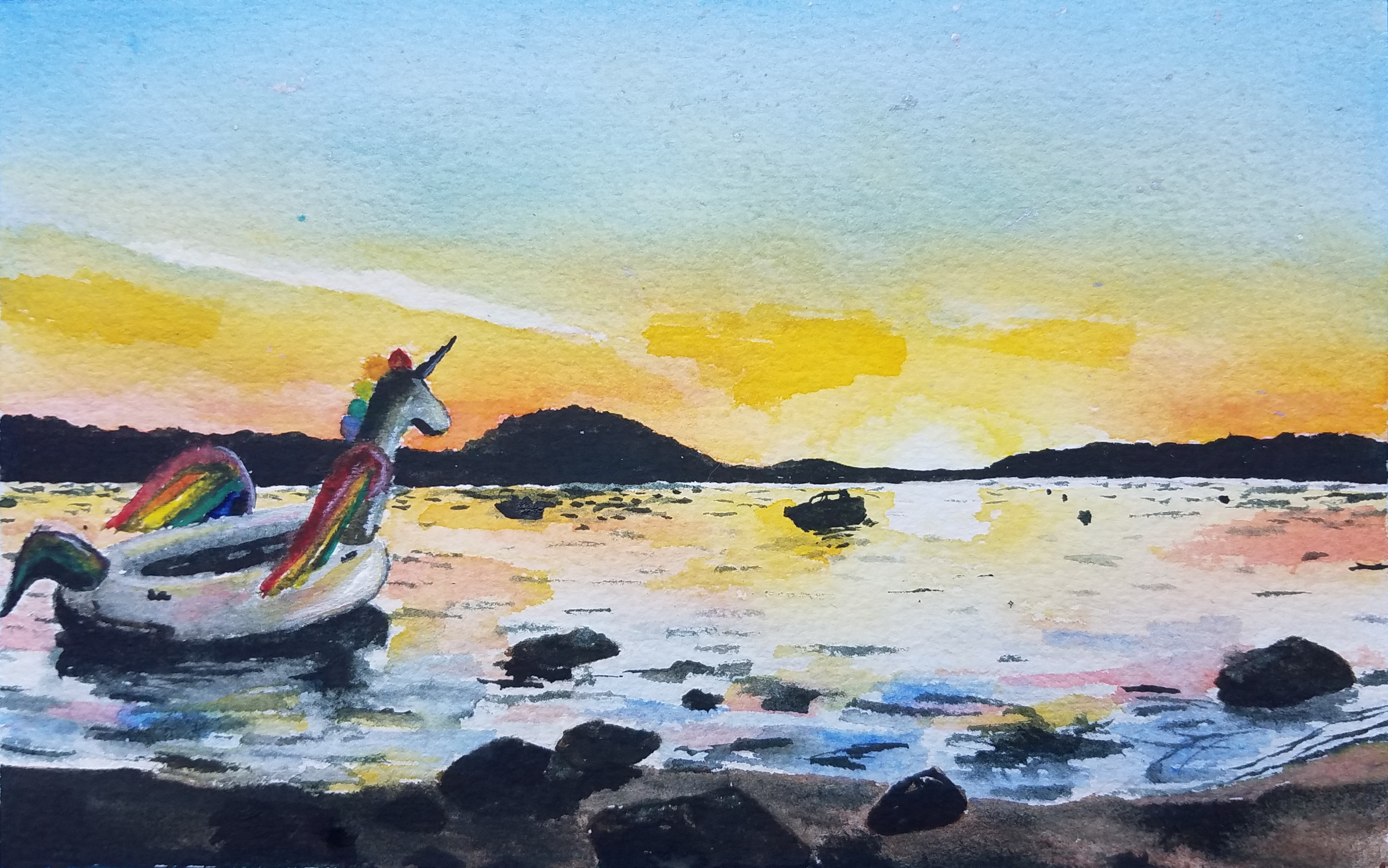 Unicorn Island Watercolor, by Michael McCormack