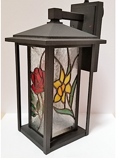 """Nature's Gifts"" Stained Glass Patio Light"