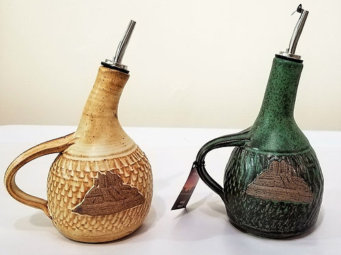 Stoneware Olive Oil Pourer with Sedona Motif