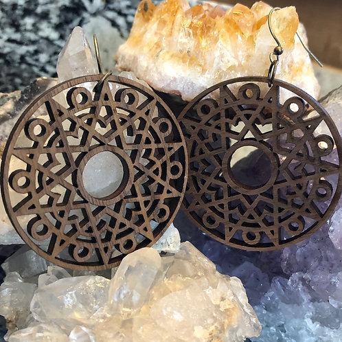 """""""Sun Mandala"""" Wooden Dangle Earrings"""