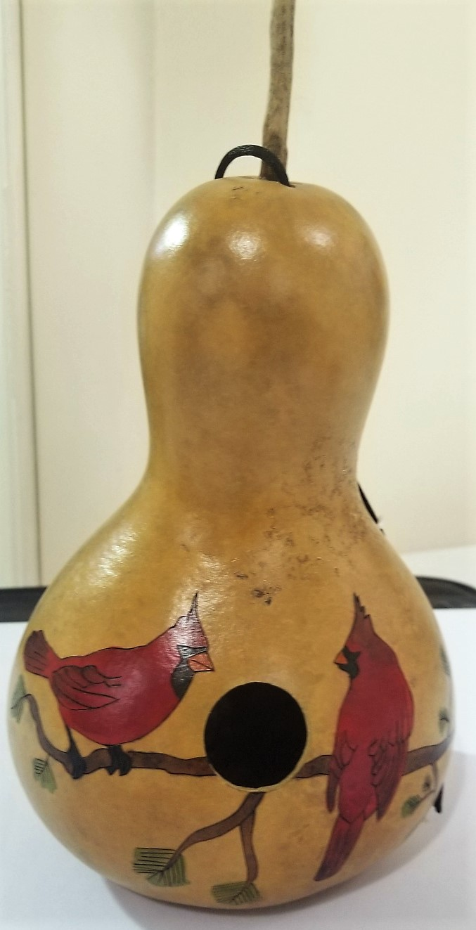 Red Robin Gourd Birdhouse, by Stephen and Jodi Imms