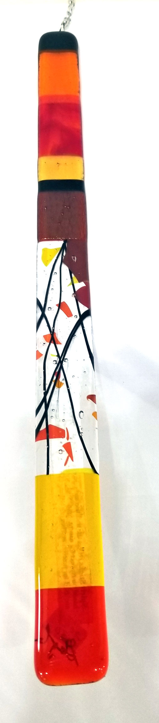 Orange and Red Glass Spirit Stick, by Gayle Potter