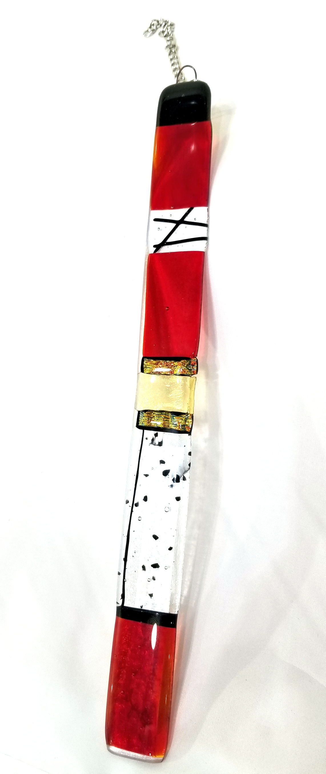 Red and Black Glass Spirit Stick, by Gayle Potter