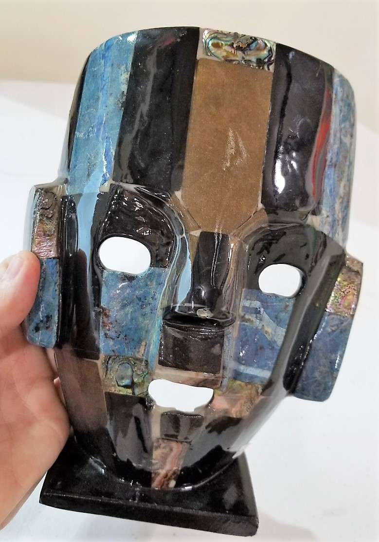 Stone Mask with Abalone, by Arizona Agate