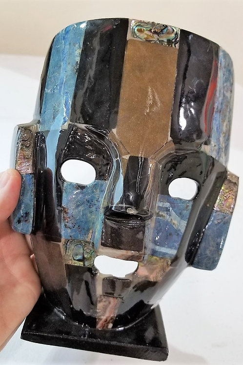Blue Inlaid Stone Mask with Abalone