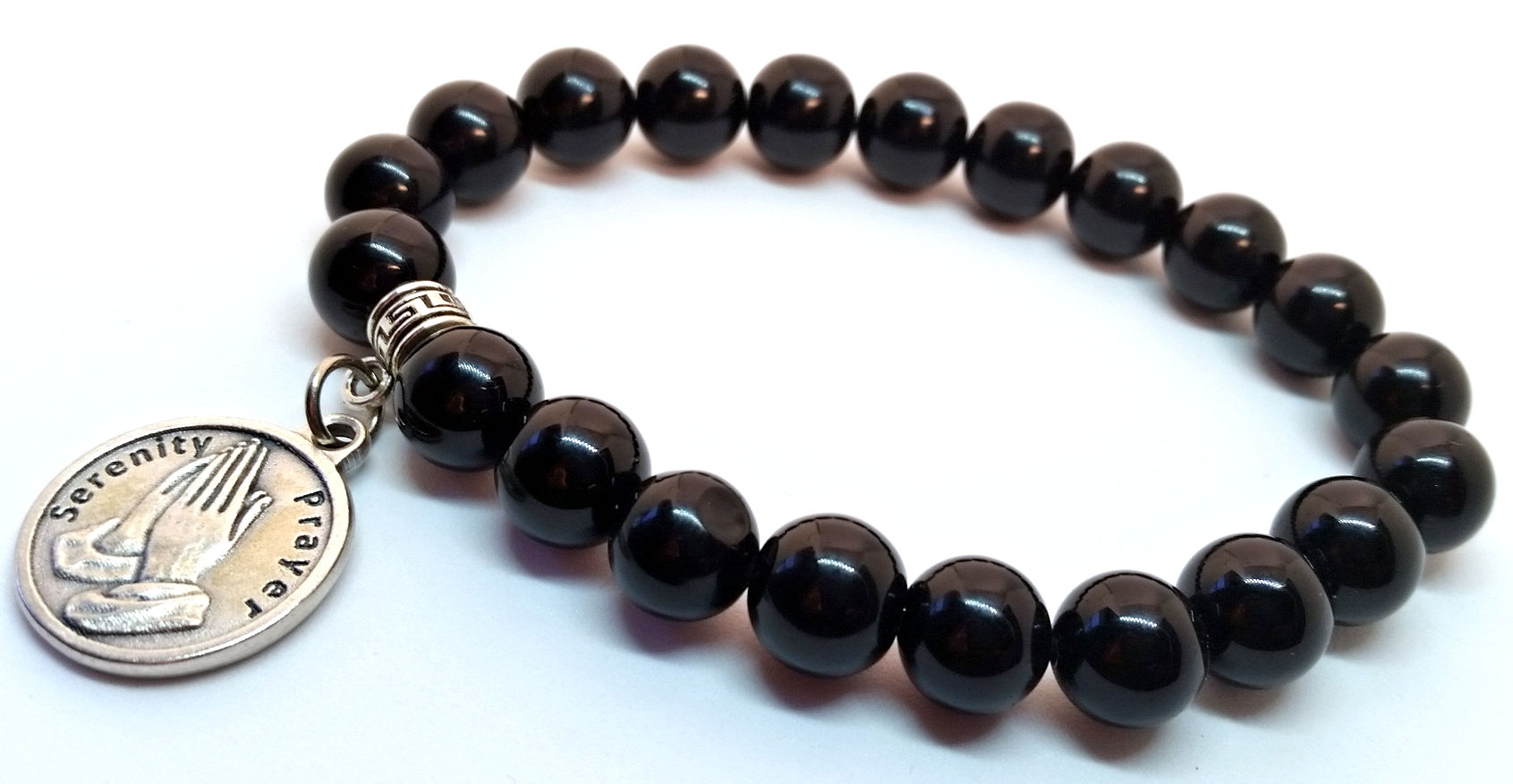 Black Onyx Serenity Prayer Bracelet, by Charmed Recovery