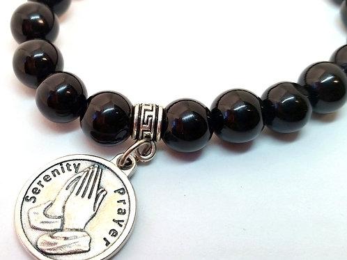 Black Onyx Serenity Prayer Bracelet