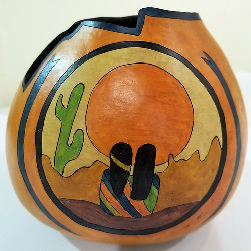 """Handpainted Southwestern Gourd """"Mr. and Mrs."""""""