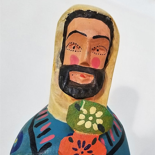 Hand-Carved Mayan Statue of St. Fiacre
