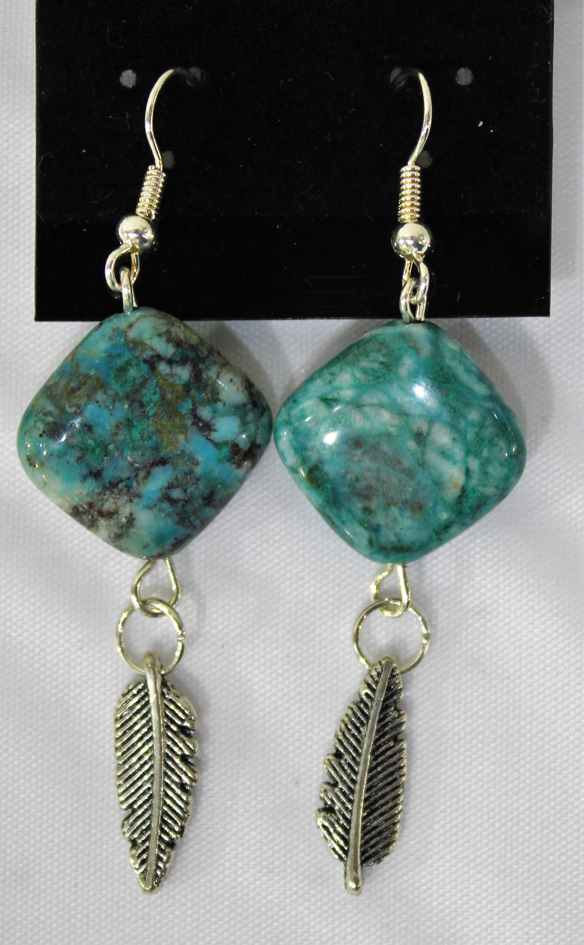 Chrysacolla Earrings, by Lucy Young