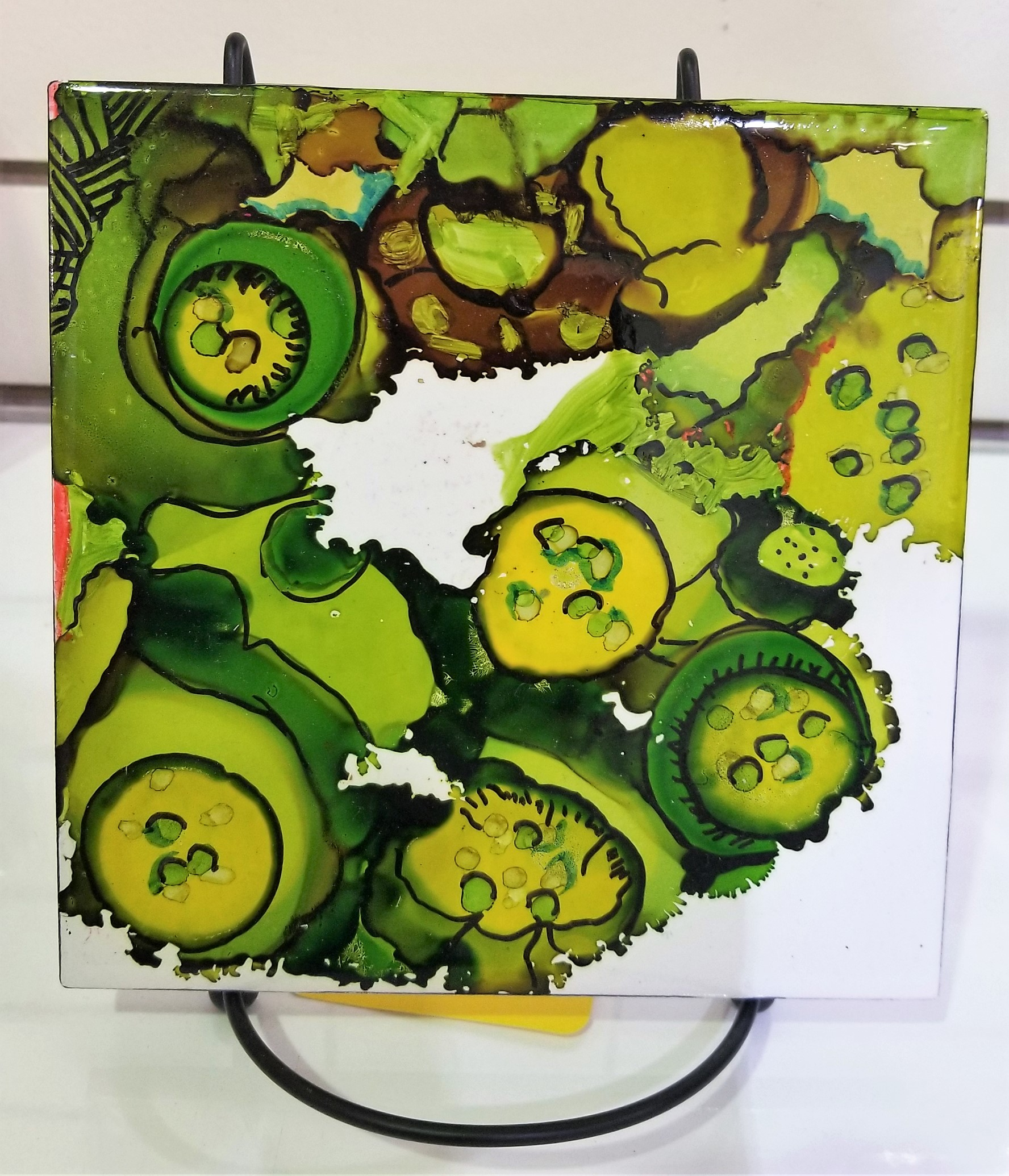 green sqAlcohol Ink Tile, by Joan Hansonuare
