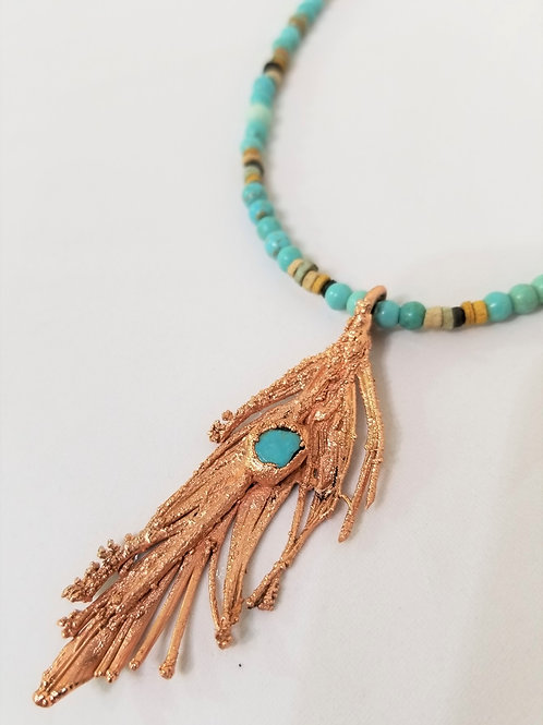 Copper Electroform Pendant with Turquoise