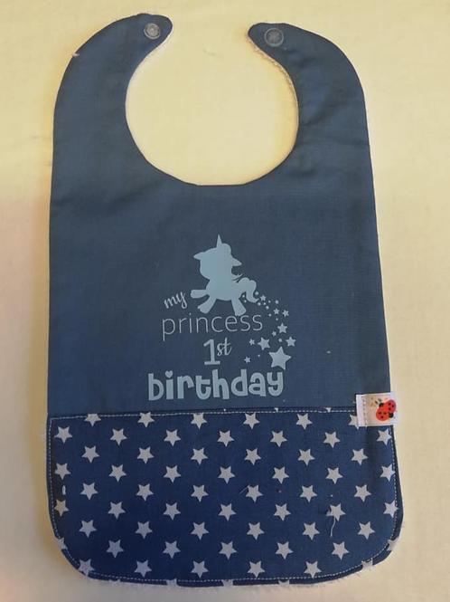 Mijn eerste verjaardag slabbetje  sterren/lichtblauwe flex