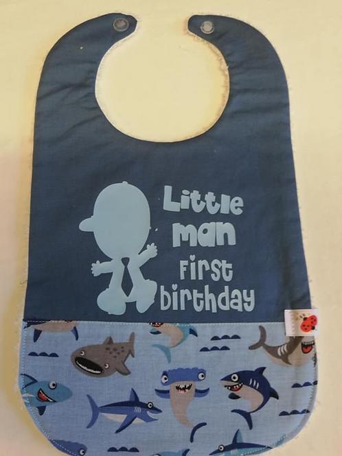 Mijn eerste verjaardag slabbetje  haai/lichtblauwe flex