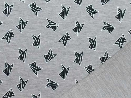 MI & JOE -origami vliegtuigjes grijs gemeleerd - 9euro/m