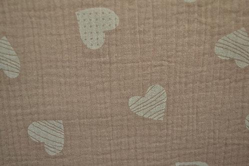 Hydrofiel - Hartjes - oud roze/beige - 9euro/m