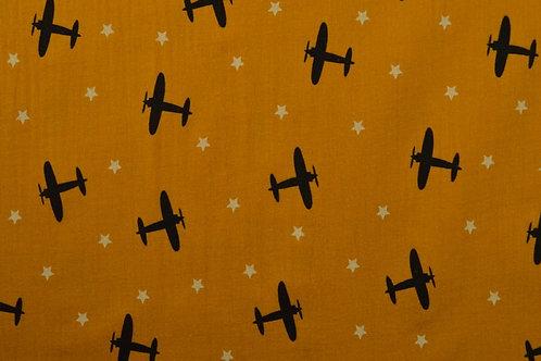 Hydrofiel - Vliegtuigen - oker geel  - 9euro/m
