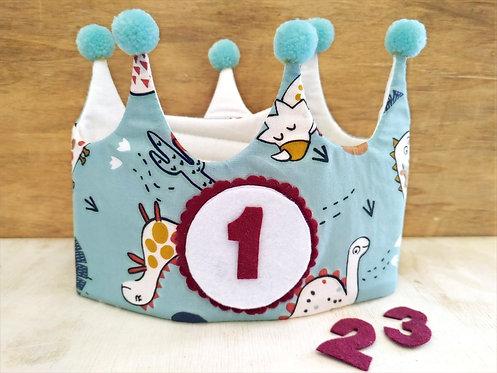 Corona de Cumpleaños Dinos - RAINBOW BABY