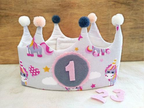 Corona de Cumpleaños Unicornios - RAINBOW BABY
