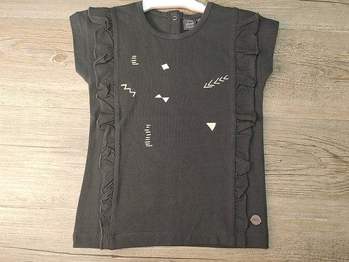 Camiseta Negra Volantes Laterales Signos Blancos- BABY FACE