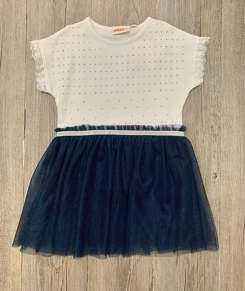 Vestido Azul Marino y Blanco Brillantitos -UBS2
