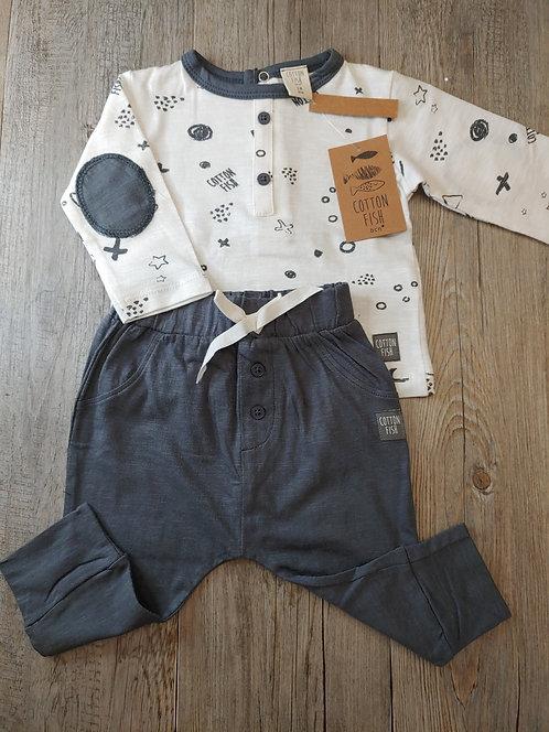 Conjunto Camiseta Estampada Pantalón Gris - 3 meses - COTTON FISH