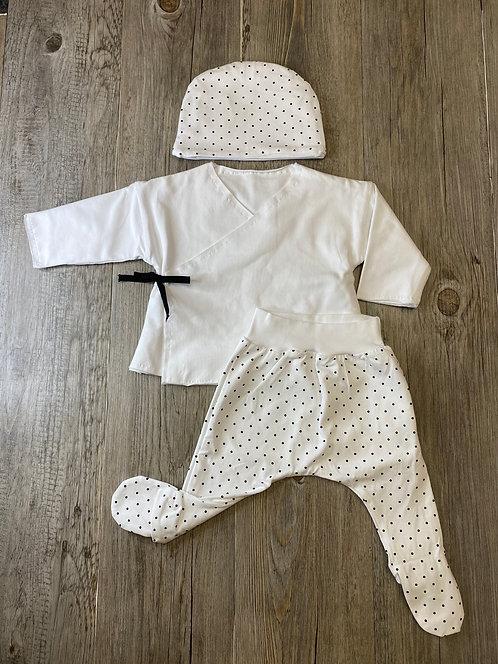 Conjunto Kimono Blanco y Lunares con Gorrito - 3 meses - SNUG