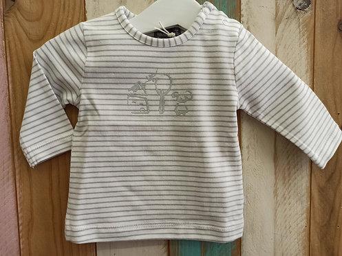 Camiseta Rayas Grises Casa, Árbol, Perro - BABY FACE