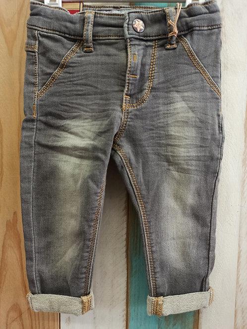 Pantalón Tejano Gris Costuras Marrones - 6 meses - FEETJE