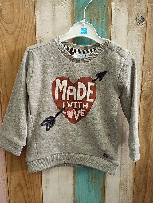 Sudadera Gris Made With Love - FEETJE
