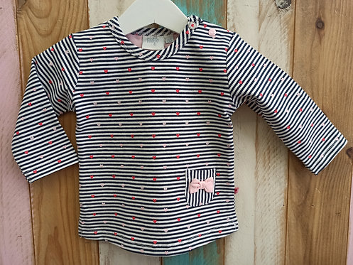 Camiseta Rayas Corazones Lazito - 6 meses - FEETJE