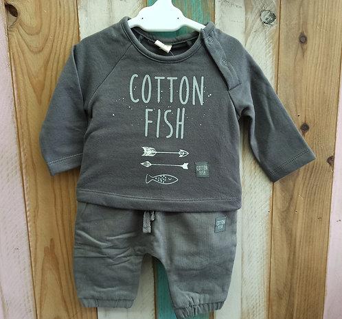 Conjunto Gris Flechas - 1 mes - COTTON FISH
