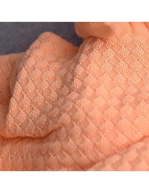 Manta Bebé Cuadros Salmón - MICU MICU