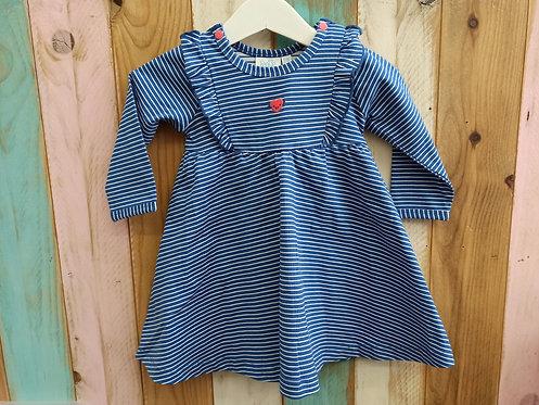 Vestido Azul Rayas Corazoncito - 6 meses - FEETJE