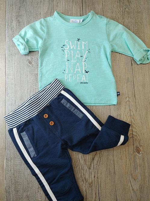 Conjunto Swim Play Nap Repeat Pantalón Azul Marino - 3 meses - FEETJE