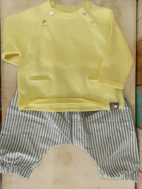 Conjunto Jersey Punto Amarillo y Pantalón Rayas - 1 mes - SNUG