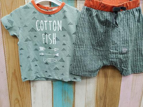 Conjunto Montañas Verde/Naranja - COTTON FISH