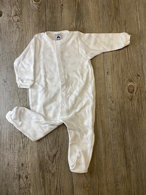 Pelele Pijama Blanco Plumas Azules - 3 meses - BABIDÚ