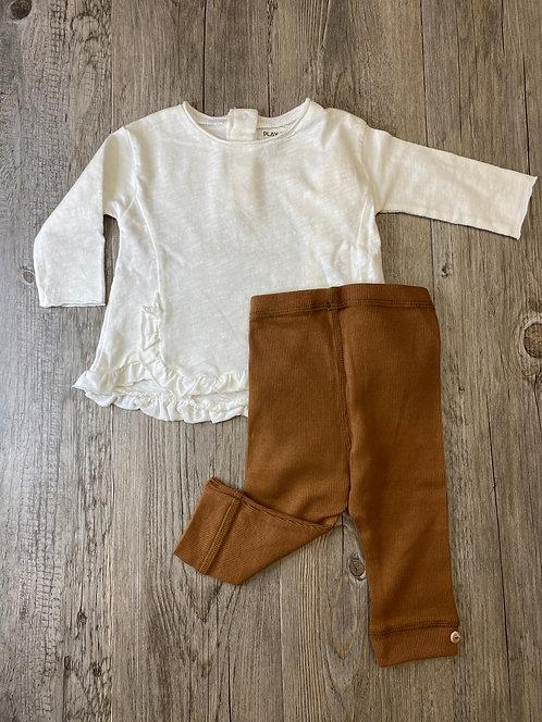 Conjunto Camiseta Blanca Natural y Pantalón Canalé Marrón - 3 meses - PLAY UP