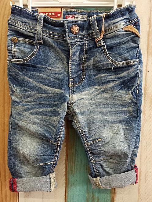 Pantalón Tejano Desgastado Costuras Beige - 6 meses - FEETJE