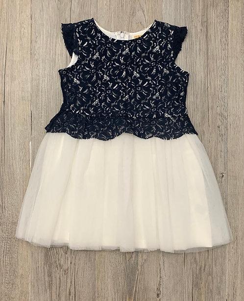 Vestido Azul Marino y Tul Blanco - UBS2