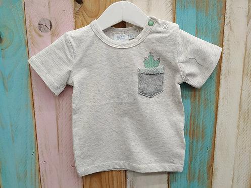 Camiseta Gris Bolsillo Cactus - FEETJE