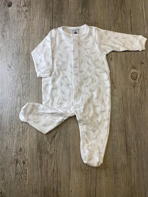 Pelele Pijama Blanco Plumas Grises - 3 meses - BABIDÚ