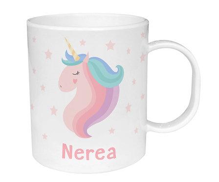 Taza de Plástico Personalizada Unicornio