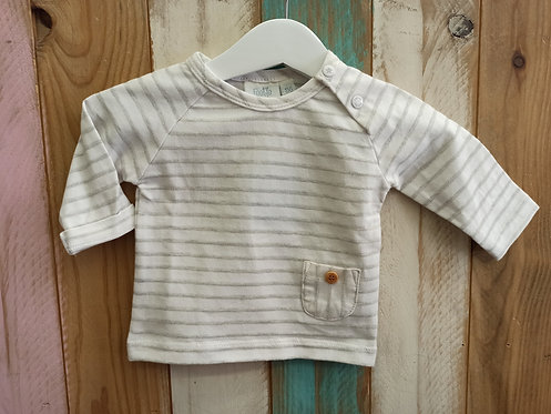 Camiseta Rayas Bolsillo Blanca y Gris - 1 mes - FEETJE