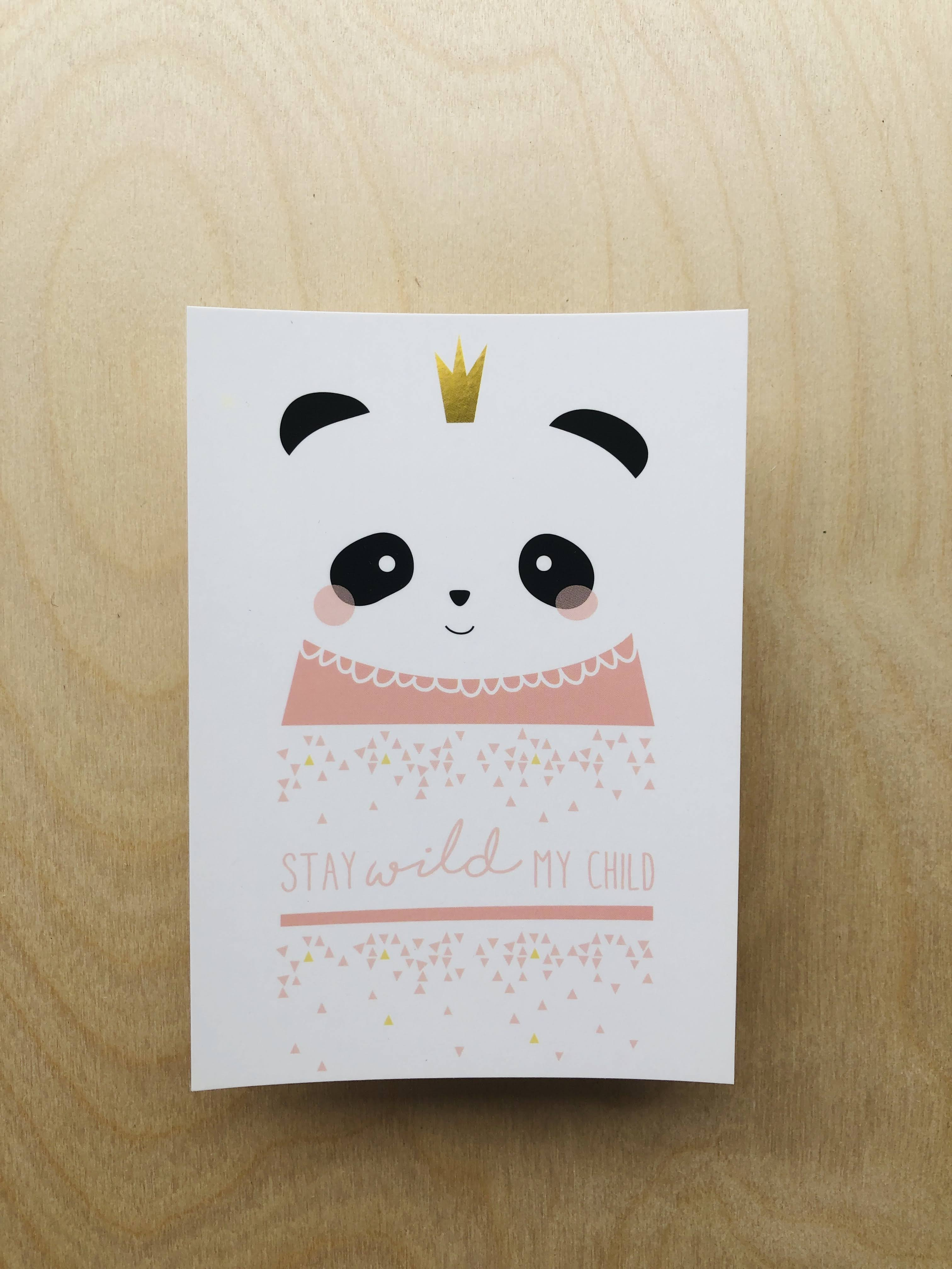 wenskaart baby meisje_ panda