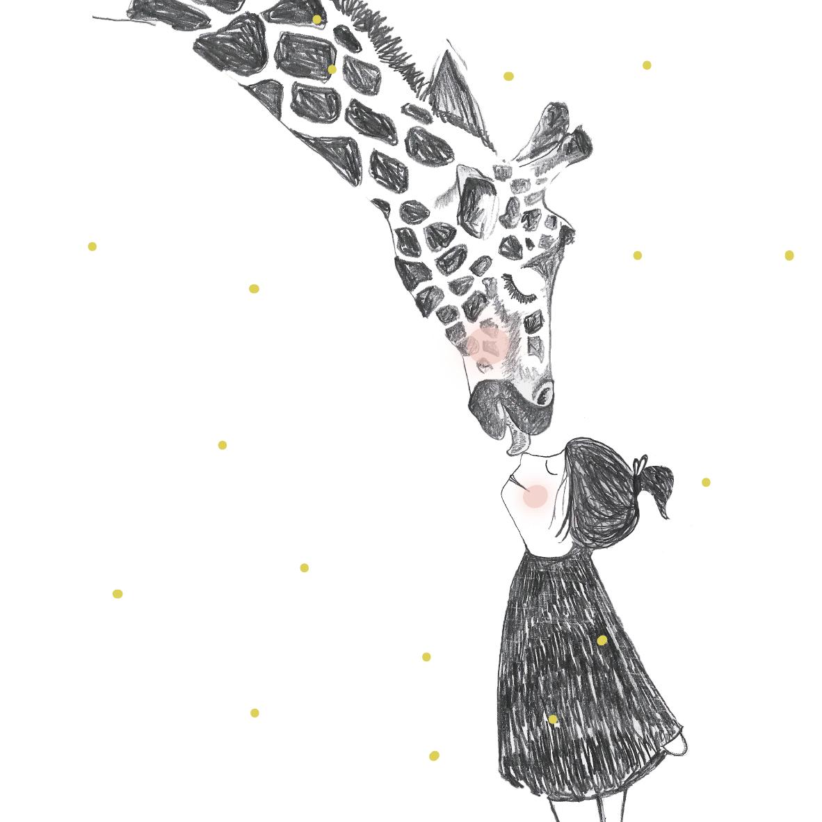 illustratie giraf op maat