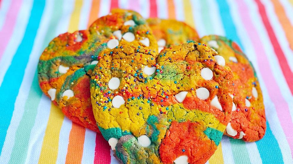 White Chocolate Rainbow Pride Cookies